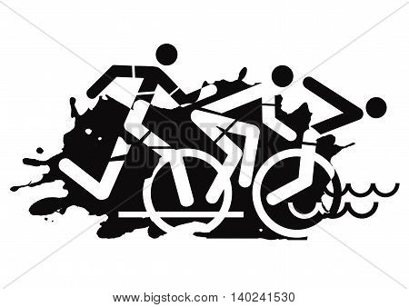 Three triathlon athletes on the grunge background. Vector available.