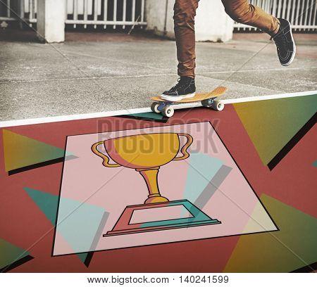 Achievement Trophy Cup Success Graphic Concept