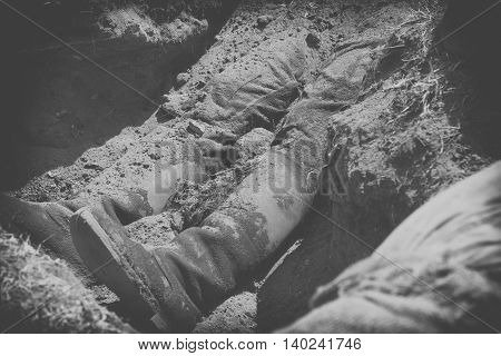 conceptual image of violence and crime dead body black and white