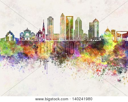 Charlotte skyline artistic abstract in watercolor background