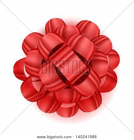 Gift bow realistic vector illustration. Red ribbon present box decoration. Good for birthday, christmas celebration design.