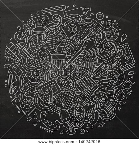 Cartoon cute doodles hand drawn Design illustration. Line art detailed, with lots of objects background. Funny vector artwork. Chalkboard picture with Artistic theme