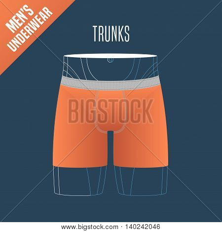 Men's underwear vector illustration. Design element for trunks boxers male underwear model for poster flyer display in retail store