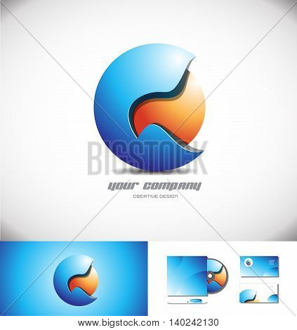 Vector company logo icon element template blue orange 3d sphere design media games corporate business