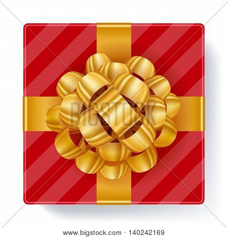 Red gift box with golden ribbon bow top view vector illustration Beautiful realistic present box template for birthday christmas new year design.