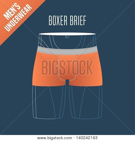 Men's underwear vector illustration. Design element for boxer brief boxers male underwear model for poster flyer display in retail store
