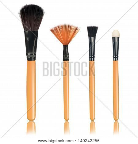 Brushes make up with reflection on an isolated white background