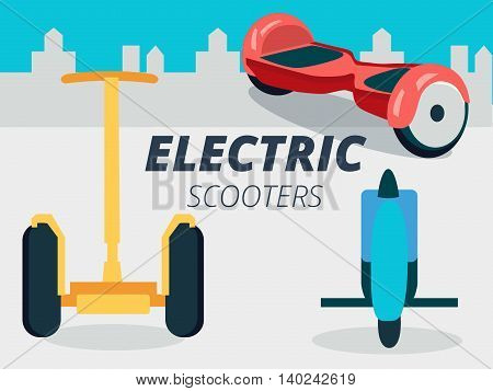 Set of vector gyroscooters on city background design gyroscope riders two-wheel and one-wheel