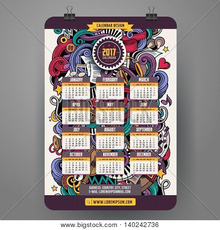 Cartoon colorful hand drawn doodles Musical 2017 year calendar template. English, Sunday start. Very detailed, with lots of objects illustration. Funny vector artwork.
