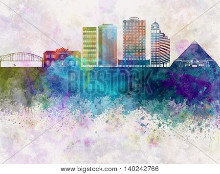 Memphis skyline artistic abstract in watercolor background