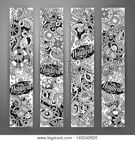 Cartoon line art vector hand drawn doodles nautical corporate identity. 4 vertical banners design. Templates set