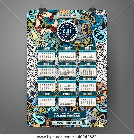 Cartoon colorful hand drawn doodles nautical 2017 year calendar template. English, Sunday start. Very detailed, with lots of objects illustration. Funny vector artwork