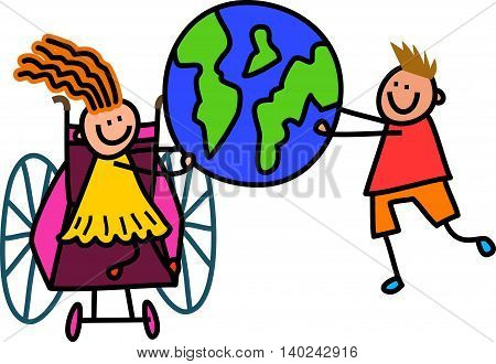 Happy cartoon stick children holding a world globe.