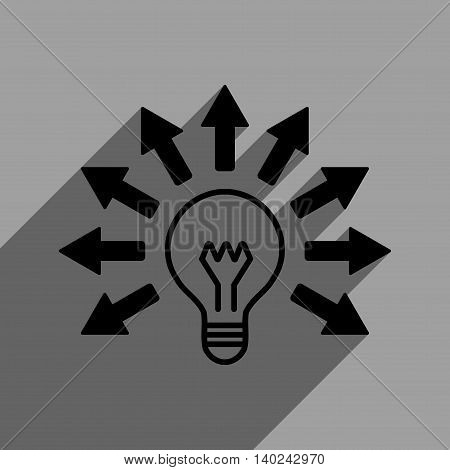 Electric Light Arrows long shadow vector icon. Style is a flat electric light arrows black iconic symbol on a gray square background with longshadow.