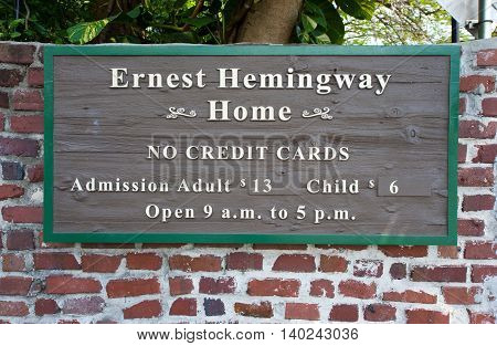 KEY WEST FLORIDA USA - MAY 02 2016: Entrance of the Hemingway House in Key West in Florida.