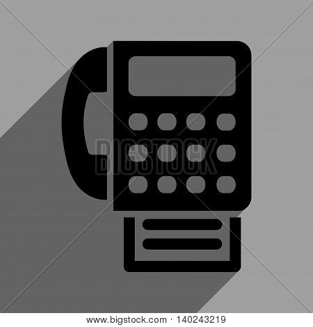 Fax long shadow vector icon. Style is a flat fax black iconic symbol on a gray square background with longshadow.
