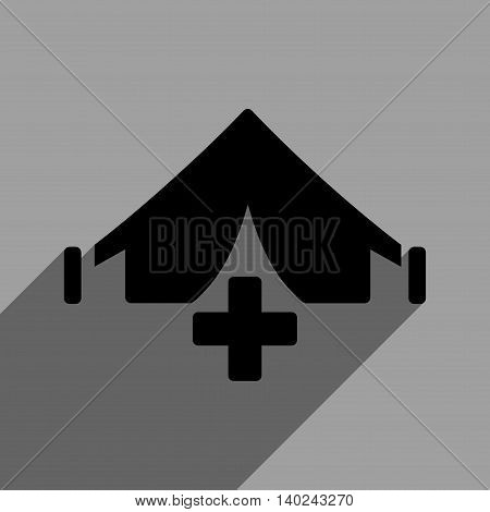 Filed Hospital long shadow vector icon. Style is a flat filed hospital black iconic symbol on a gray square background with longshadow.