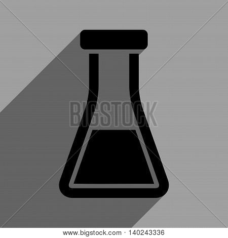 Flask long shadow vector icon. Style is a flat flask black iconic symbol on a gray square background with longshadow.