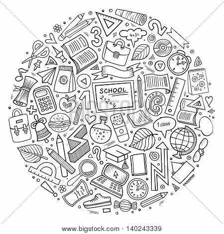 Line art sketchy vector hand drawn set of Back to School cartoon doodle objects, symbols and items. Round composition