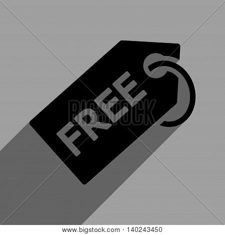 Free Tag long shadow vector icon. Style is a flat free tag black iconic symbol on a gray square background with longshadow.