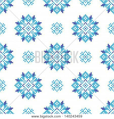 Seamless embroidered texture of abstract flat patterns blue snowflakes cross-stitch ornament for cloth