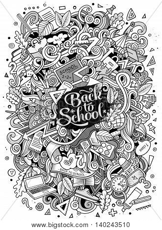 Cartoon cute doodles hand drawn school design. Line art detailed, with lots of objects background. Funny vector illustration. Sketched pictore with education theme items