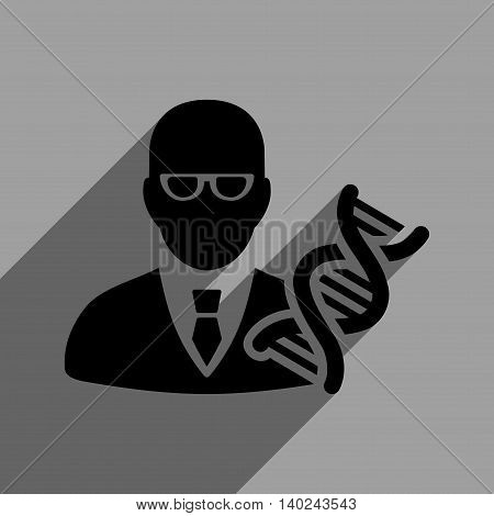 Genetic Engineer long shadow vector icon. Style is a flat genetic engineer black iconic symbol on a gray square background with longshadow.