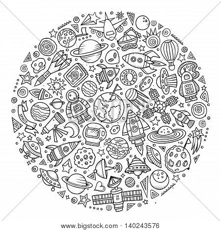 Line art vector hand drawn set of Spacel cartoon doodle objects, symbols and items. Round composition