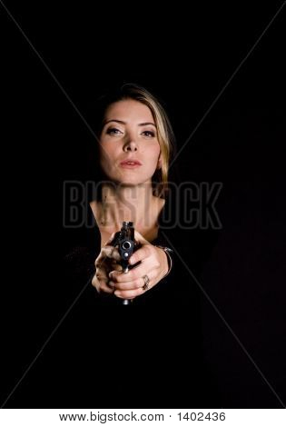 Sexy Blond With Semi-Automatic Handgun