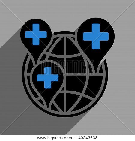 Global Clinic Company long shadow vector icon. Style is a flat global clinic company black iconic symbol on a gray square background with longshadow.