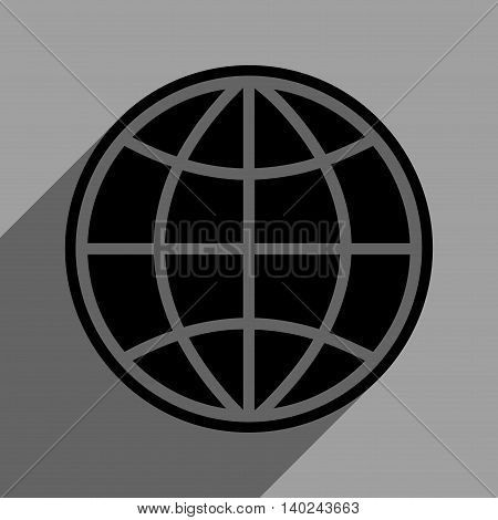 Globe long shadow vector icon. Style is a flat globe black iconic symbol on a gray square background with longshadow.