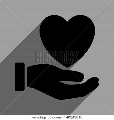 Heart Charity Hand long shadow vector icon. Style is a flat heart charity hand black iconic symbol on a gray square background with longshadow.