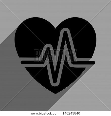 Heart Diagram long shadow vector icon. Style is a flat heart diagram black iconic symbol on a gray square background with longshadow.