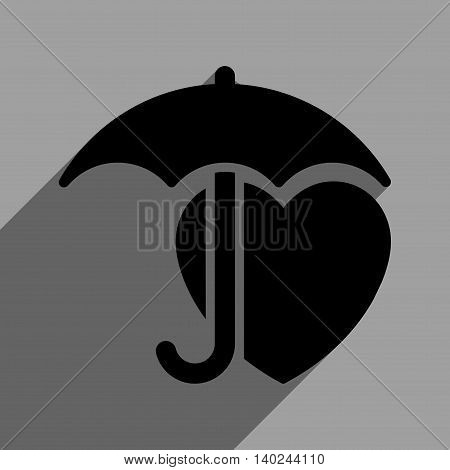 Heart Umbrella Protection long shadow vector icon. Style is a flat heart umbrella protection black iconic symbol on a gray square background with longshadow.