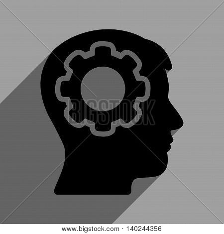 Human Mind long shadow vector icon. Style is a flat human mind black iconic symbol on a gray square background with longshadow.