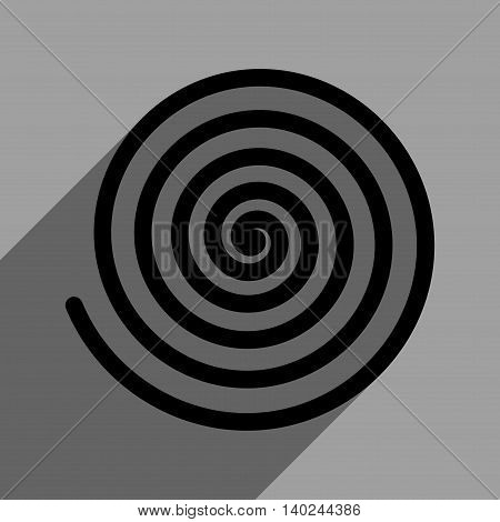 Hypnosis long shadow vector icon. Style is a flat hypnosis black iconic symbol on a gray square background with longshadow.