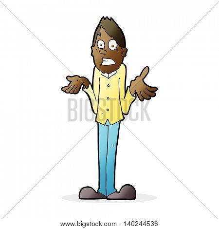 cartoon man shrugging shoulders