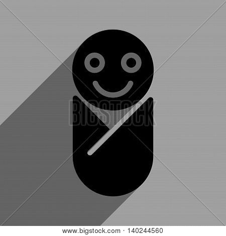 Infant long shadow vector icon. Style is a flat infant black iconic symbol on a gray square background with longshadow.