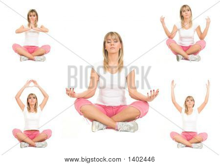 Beauty Girl In Five Yoga Pose