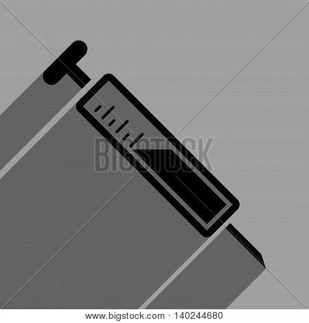 Injection long shadow vector icon. Style is a flat injection black iconic symbol on a gray square background with longshadow.