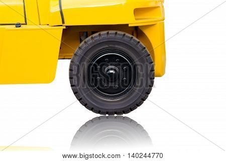 Side view of Forklift isolated on white