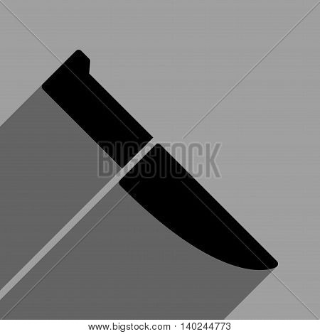 Knife long shadow vector icon. Style is a flat knife black iconic symbol on a gray square background with longshadow.