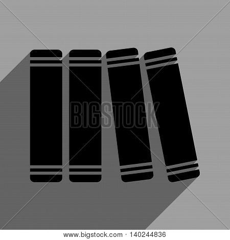 Library Books long shadow vector icon. Style is a flat library books black iconic symbol on a gray square background with longshadow.