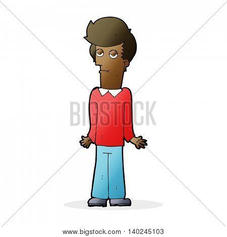 cartoon bored man shrugging shoulders