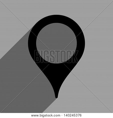 Map Marker long shadow vector icon. Style is a flat map marker black iconic symbol on a gray square background with longshadow.