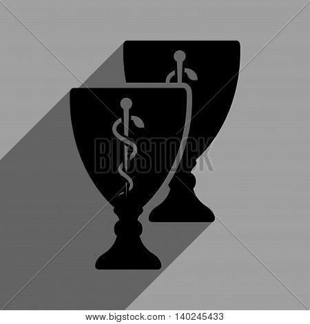 Medical Cups long shadow vector icon. Style is a flat medical cups black iconic symbol on a gray square background with longshadow.