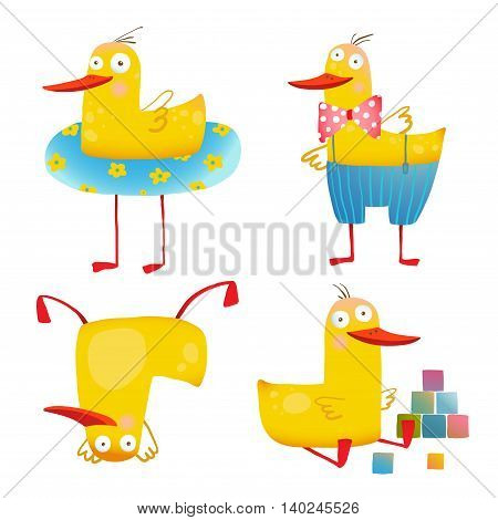 Birdie animal cartoon fun play adorable kids illustration. Transparent background EPS10 vector.