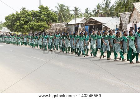 Documentary image. Pondicherry, Tamil Nadu, India - May 12 2014. School students in school, out school, in groups, with uniforms. In government school
