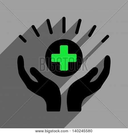 Medical Prosperity long shadow vector icon. Style is a flat medical prosperity black iconic symbol on a gray square background with longshadow.