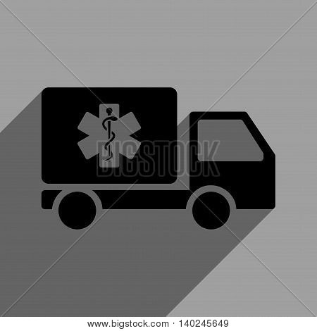 Medical Shipment long shadow vector icon. Style is a flat medical shipment black iconic symbol on a gray square background with longshadow.